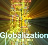 Globalization wordcloud glowing Stock Photo
