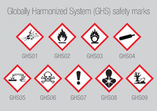 Globally Harmonized System Safety Marks. Set of 9 vector Globally Harmonized System (GHS) Safety Marks for packaging, CLP warning signs vector illustration