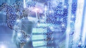 Globalna Światowej mapy Dwoistego ujawnienia sieć Telekomunikacja, Międzynarodowy biznesowy internet i technologii pojęcie, ilustracja wektor