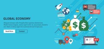 Globalna gospodarka, biznesowa mapa i handlu sukces, ilustracji