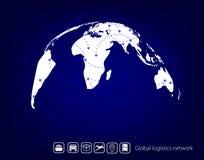 Globalna logistyki sieć Map logistyk globalny partnerstwo Błękitna jednakowa światowa mapa Ustawia ikony transport i logistyki ilustracja wektor