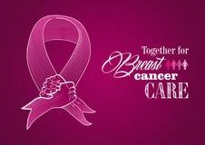 Globalna nowotwór piersi świadomości istota ludzka wręcza faborek  ilustracji