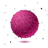 Globalna siatki sfera Abstrakcjonistyczne geometryczne menchie kształtują z bańczastym przecinającym z trójgraniastych twarzy Fotografia Royalty Free