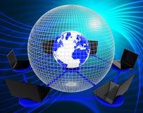 Globalna sieć komputerowa Wskazuje Na całym świecie planetę I procesor ilustracja wektor
