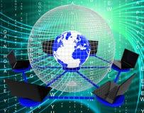 Globalna sieć komputerowa Wskazuje networking Worldwi I monitoru ilustracja wektor