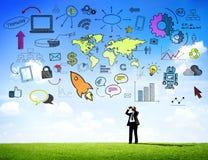 Globalne komunikacje biznesowe z Infographic royalty ilustracja