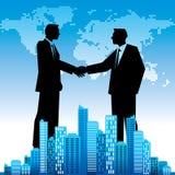 Globalnego biznesu tło z biznesmena handshaking, Obrazy Royalty Free