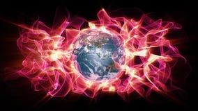 Globalnego nagrzania aura lekka waveforms koperta planety ziemia ilustracja wektor