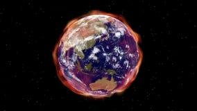 Globalnego nagrzania aura upału napromienianie odkrywa ziemię w przestrzeni - Ziemska aura 007 HD royalty ilustracja