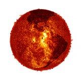 Globalnego nagrzania słońca ziemia - elementy Meblujący NASA wizerunek fotografia royalty free