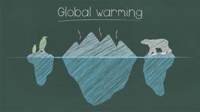 Globalnego ocieplenia zdanie na chalkboard royalty ilustracja