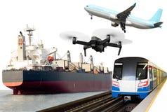 Globalnego transportu konceptualna reklama trenuje, samolot, dźwigowy statek obrazy stock