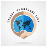 Globalnego uścisku dłoni abstrakta znaka wektorowy projekt Obrazy Stock
