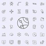 Globalnej sieci ikona Nowych Technologii ikon ogólnoludzki ustawiający dla sieci i wiszącej ozdoby royalty ilustracja
