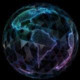 Globalnej sieci interneta technologie Cyfrowej światowa mapa ilustracji