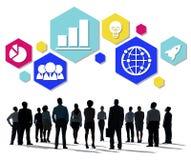 Globalnej strategii biznesowej ikony Planistyczny pojęcie Zdjęcie Stock