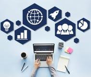 Globalnej strategii biznesowej ikony Planistyczny pojęcie Obrazy Royalty Free