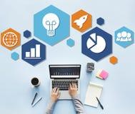 Globalnej strategii biznesowej ikony Planistyczny pojęcie Zdjęcie Royalty Free