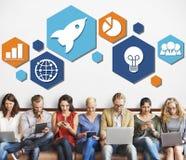 Globalnej strategii biznesowej ikony Planistyczny pojęcie Zdjęcia Stock