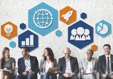 Globalnej strategii biznesowej ikony Planistyczny pojęcie Fotografia Royalty Free