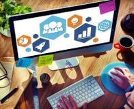 Globalnej strategii biznesowej ikony Planistyczny pojęcie Fotografia Stock