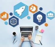 Globalnej strategii biznesowej ikony Planistyczny pojęcie Zdjęcia Royalty Free