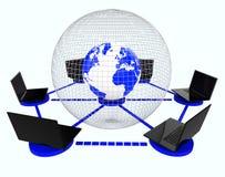 Globalni sieć komputerowa sposoby Światowy monitor I łączliwość ilustracji