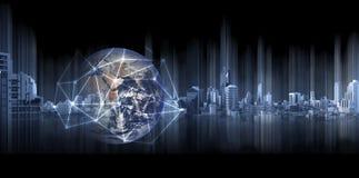 Globalny biznes, networking, Dwoistego ujawnienia kula ziemska z sieć związku liniami i nowożytni budynki na czarnym tle, Ele royalty ilustracja