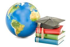 Globalny edukaci pojęcie, ziemia z książkami i absolwent nakrętka, 3d Zdjęcie Royalty Free