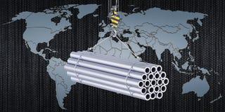 Globalny handel stalowych drymb pojęcie, 3D rendering ilustracja wektor