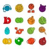 Globalny ikona set, koloru konturu styl Zdjęcie Royalty Free