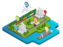 Globalny logistyki sieci mieszkania 3d isometric wektorowy ilustracyjny Lotniczy ładunek przewozi samochodem sztachetowego transp Obraz Royalty Free