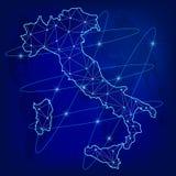 Globalny logistyki sieci pojęcie Teletechnicznej sieci mapa Włochy na światowym tle Mapa Włochy z guzkami w poligonalnym royalty ilustracja