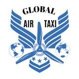Globalny lotniczego taxi wektorowy logo, emblemata projekta szablon obrazy stock