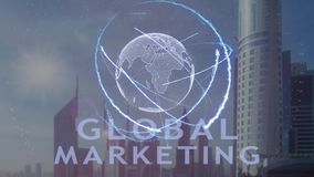 Globalny marketingowy tekst z 3d hologramem planety ziemia przeciw tłu nowożytna metropolia zbiory wideo