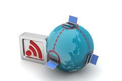 Globalny networking pojęcie z rss znakiem Obrazy Royalty Free