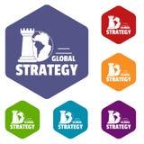 Globalny strategii ikon wektoru sześciobok ilustracja wektor