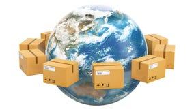 Globalny wysyłki i dostawy pojęcie, pakuneczki wiruje wokoło ziemi świadczenia 3 d ilustracji