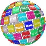 Globalnych Drużynowych słowo płytek grupy biznesowej Międzynarodowy zasięg Workin Fotografia Royalty Free