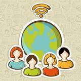 Globalnych różnorodność związków internetowi ludzie ilustracji
