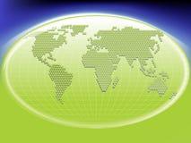 Globalt anslutnings- och kommunikationssymbolbegrepp med ett grönt internationellt jordklot av världen Arkivbild