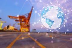 Globalt anslutningsbegrepp av industriella behållarelastfrakter Royaltyfri Fotografi