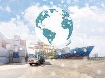 Globalt anslutningsbegrepp av industriella behållarelastfrakter Royaltyfri Bild