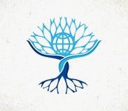 Globalt begrepp för gemenskapvärldsträd vektor illustrationer