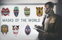 Globalt begrepp för kulturella traditionella maskeringar Royaltyfria Foton