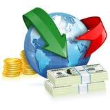 Globalt begrepp för pengaröverföring vektor illustrationer