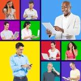 Globalt digitalt folk för förbinda och för blandat lopp royaltyfria bilder