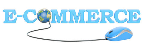 Globalt e-kommers begrepp, tolkning 3D royaltyfri illustrationer