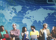 Globalt för siffrateknologi för binär kod begrepp för programvara arkivbild