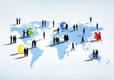 Globalt finansiellt med multietniskt affärsfolk vektor illustrationer